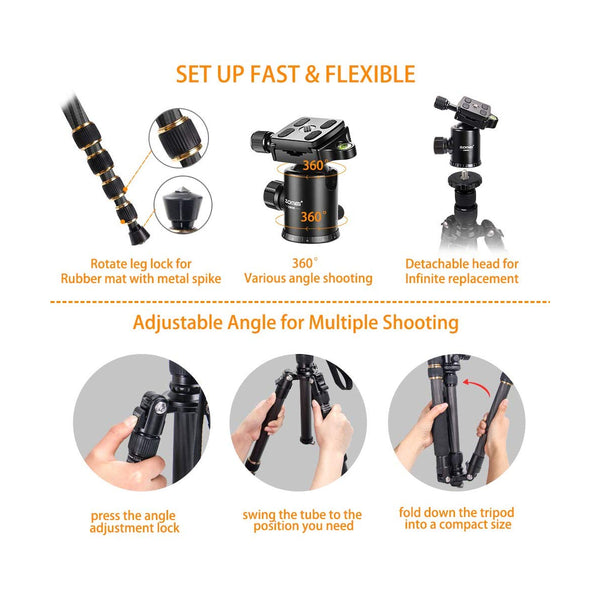 ZOMEi Z669C Portable Carbon Tripod Monopod Kit & Ball Head Compact for Canon Sony, Nikon, Samsung, Panasonic, Olympus, Kodak, Fuji, Cameras and Video Camera