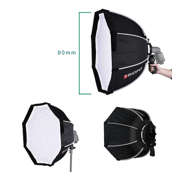 TRIOPO 90cm Foldable Softbox Octagon Soft box w/Handle for Godox Yongnuo On-Camera Speedlite Flash Light photography studio