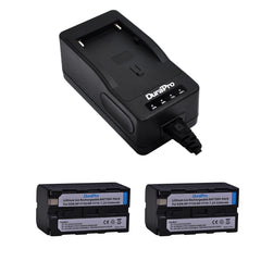 2 pcs DuraPro NP-F750 NP-F770 Camera Battery and NP-F750 Single Fast Charger for Sony Battery NP-F970 NP-F960 NP-F750 NP-F550 Charger Only NPf960 NPF550