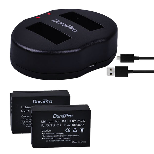 DuraPro 2pcs LP-E12 Batteries + USB Dual Charger For Canon M 100D Kiss X7 Rebel SL1 EOS M10 DSLR Camera