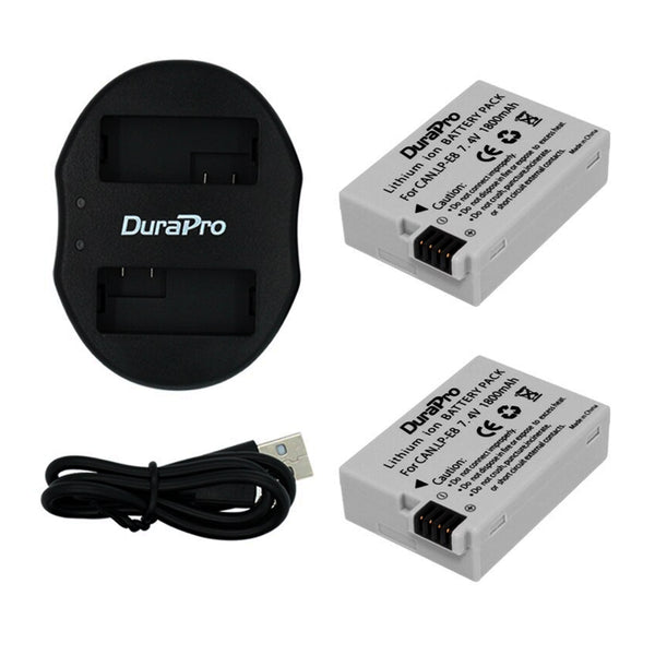 DuraPro Canon 2pc LP-E8 Battery + Dual USB  Charger Kit LPE8