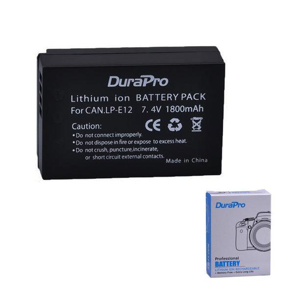 2 Pcs DuraPro LP-E12 1800mAh Battery for Canon EOS M M2 100D Kiss X7 Rebel SL1