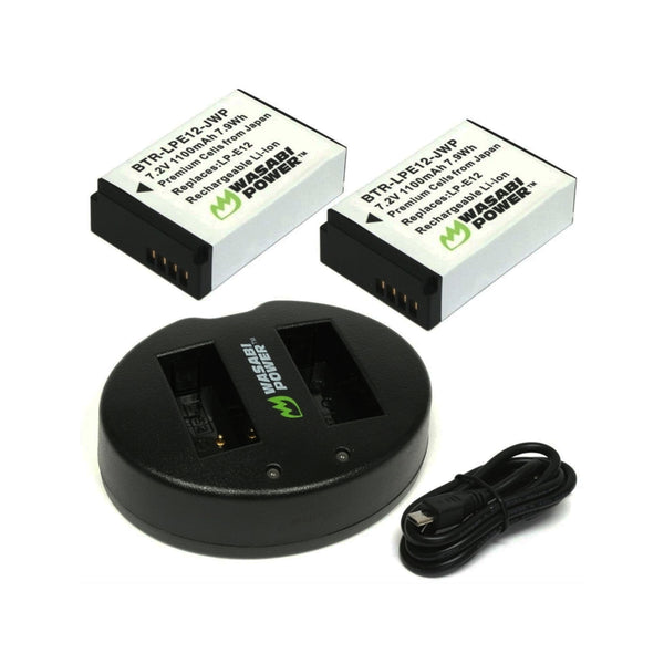 Wasabi Power Battery for Canon LP-E12 (2-Pack) and Dual Charger LPE12