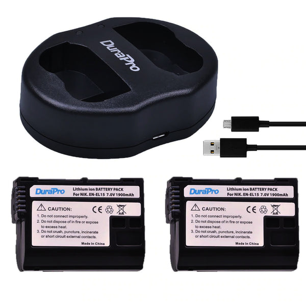 DuraPro 2Pcs Nikon EN-EL15 Battery and Dual USB Charger  for Nikon D7100, D750, D7000, D7200, D810, D610, D800, D600, D800e