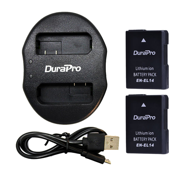 DuraPro 2pcs Nikon Batteries and USB Dual Charger EN-EL14 For Camera Nikon D5200 D3100 D3200 D5100 P7000 P7100