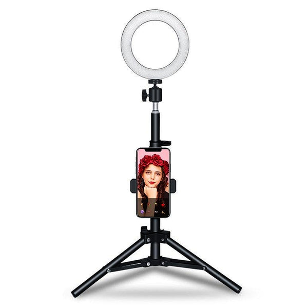 RL02 16cm Portable Table LED Ring Light with Stand / Photography Beauty Lighting Vlogging