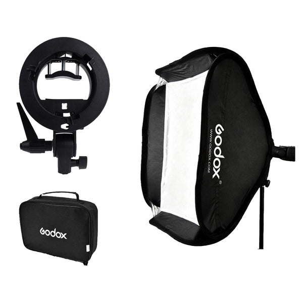 Godox Adjustable Flash Softbox 80*80cm 80x80+S type Bracket Mount Kit for Flash Speedlite Studio Shooting for Canon Nikon Sony