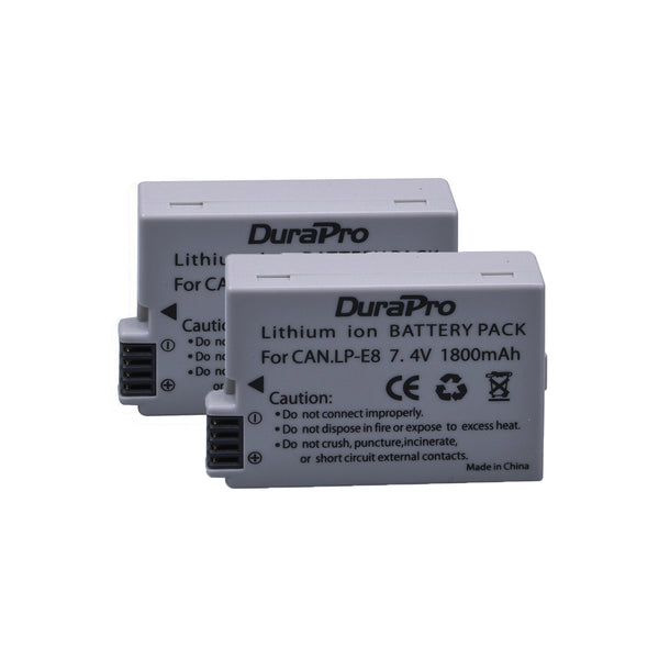 2pcs DuraPro LP-E8 Battery LP E8 LPE8 Batteries For Canon EOS 550D 600D 650D 700D kiss X4 X5 X6i X7i Rebel T2i T3i T4i T5i