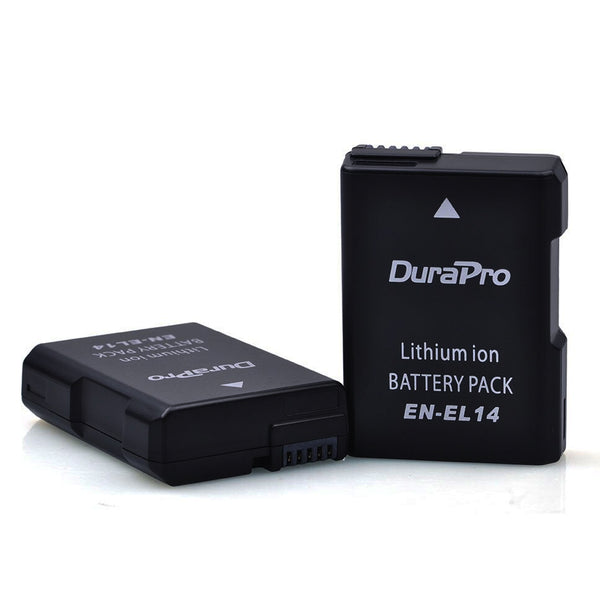 2 Pcs DuraPro EN-EL14 EN EL14 EN EL14 1200mAH Rechargeable Li-ion Camera Battery For Nikon D5200 D3100 D3200 D5100 P7000 P7100 w/ FREE Battery Case