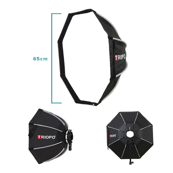 Triopo KX65 65cm Speedlite Octagon Umbrella Softbox Outdoor Flash Soft Box for Godox V1 Speedlite Softbox