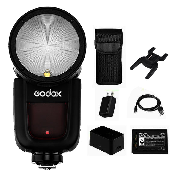 Godox V1-N V1 Nikon Flash, 1.5 sec Recycle Time,1/8000 HSS, 480 Full Power Shots,  2600mAh Lithium Battery for Canon Cameras / Round Head Flash