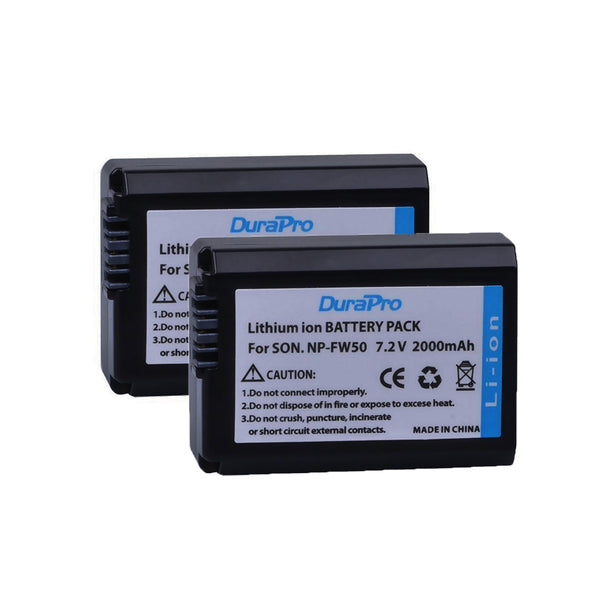 2 Pcs DuraPro NP-FW50 NPFW50 NP FW50 Battery for Sony Alpha A33 A35 A37 A55 SLT-A33 SLT-A35 SLT-A37 SLT-A37K SLT-A37M SLT-A55 SLT-A55V
