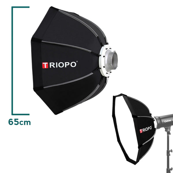Triopo 65cm Outdoor Portable Photo Bowens Mount Octagon Umbrella Soft Box with Carry Bag for Studio Video Photography Softbox