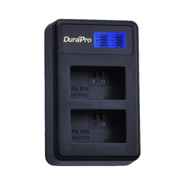 DuraPro DUAL USB Camera Battery Charger For Sony NP-FW50 Battery