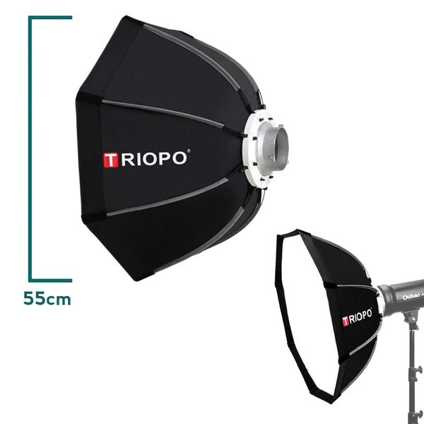 Triopo 55cm Outdoor Portable Photo Bowens Mount Octagon Umbrella Soft Box with Carry Bag for Studio Video Photography Softbox