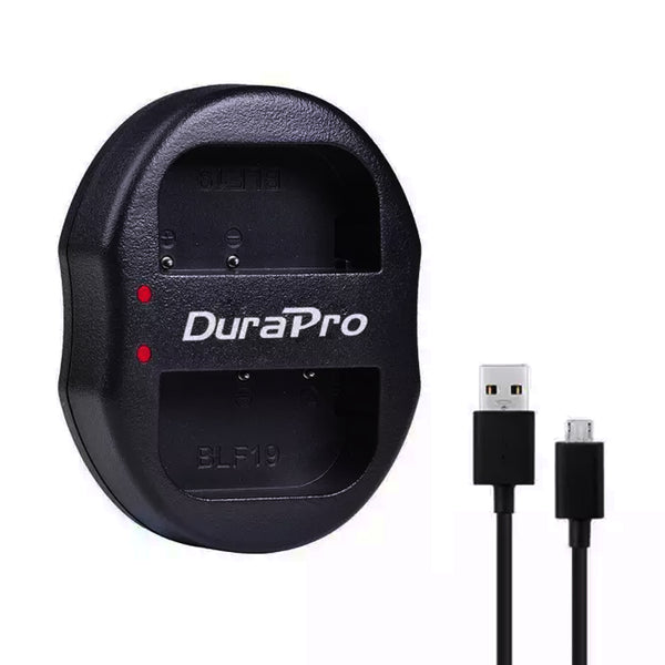 Durapro DMW-BLF19 DMW BLF19 USB Dual battery charger for Panasonic Lumix DMC-GH3 DMC GH3 GH4 DMC-GH4 GH5 USB camera dual charger
