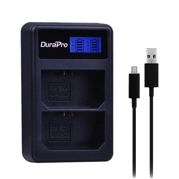 DuraPro 1pc LCD Dual USB Charger for Sony NP-FZ100 NP FZ100 BC-QZ1 Alpha 9 Alpha 9R Sony Alpha 9 S Digital Camera