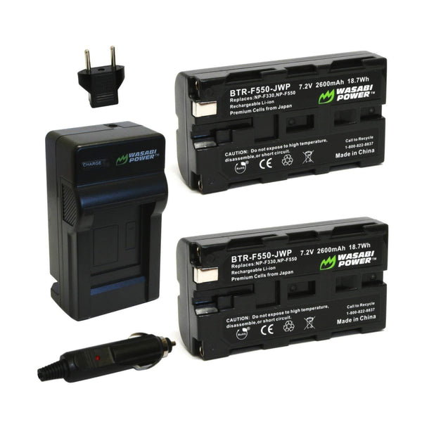 Wasabi Power Battery NP-F550 (2-Pack) and Charger for Sony NP-F330, NP-F530, NP-F550, NP-F570 and CN-160, CN-216, CN126 Series NP550