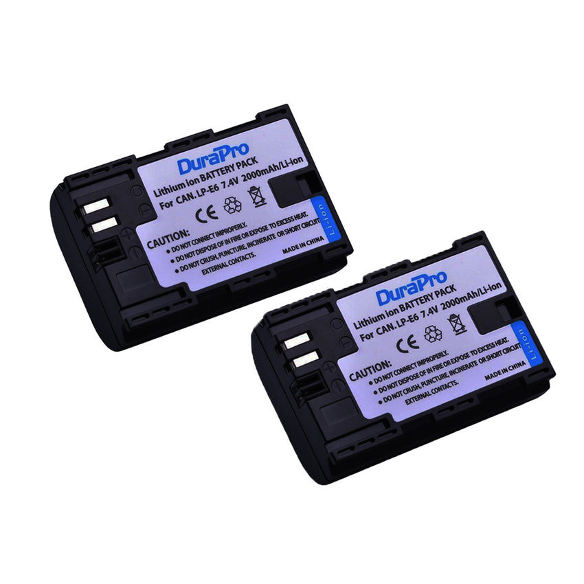 2 pcs DuraPro Canon LP-E6 Rechargeable Battery for Canon DSLR Cameras