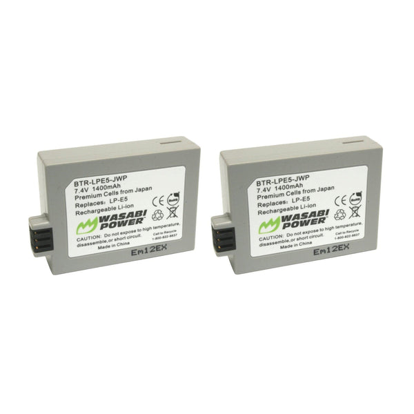 Wasabi Power Battery (2-Pack) and Dual USB Charger for Canon LP-E5 LPE5