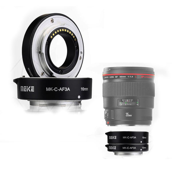 Meike MK-C-AF3A Metal Auto Focus AF Macro Extension Tube Set 10mm 16mm for Canon EOS or M Mount Camera