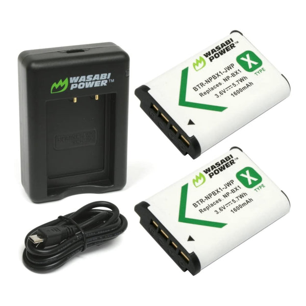 Wasabi Power Battery for Sony NP-BX1, NP-BX1/M8 (2-PACK) and DUAL CHARGER BX1 NPBX1