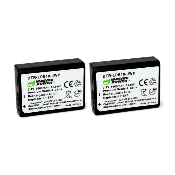 Wasabi Power Battery for Canon LP-E10 (2-Pack) and Dual Charger and for Canon EOS 1100D, 1200D, 1300D LPE10
