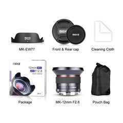 Meike 12mm F/2.8 Ultra Wide Angle Manual Focus Prime Lens for Sony E Mount APS-C Mirrorless Cameras