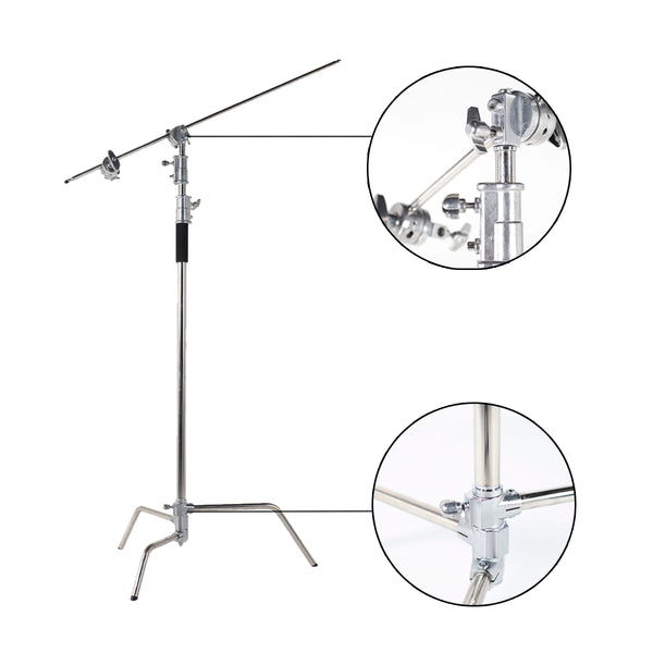 3.2M / 10.5ft Heavy Duty Studio Centry C Stand Detachable Light C-stand with Holding Arm and Line Resizer for Flash Strobe Flag Reflector