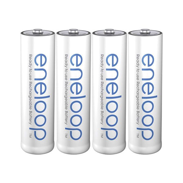 Panasonic eneloop BK-3MCCE/4ST AA Rechargeable Battery Pack of 4 (White) in Shrink Pack