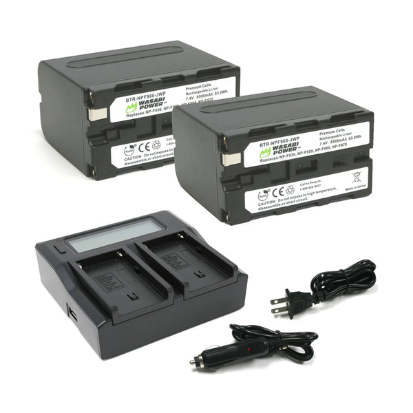 Wasabi Power Battery for SONY NP-F950, NP-F960, NP-F970, NP-F975 (L SERIES) BATTERY (2-PACK) AND DUAL CHARGER F960