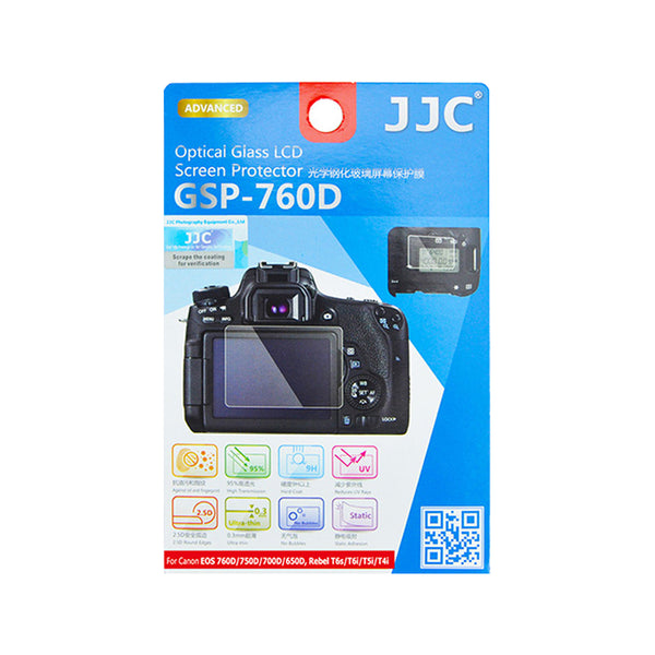 JJC Ultra-thin LCD Screen Protector for CANON EOS 800D, 760D, 750D, 700D, 650D, 8000D, 9000D Kiss X9i, X8i, X7i, X6i Rebel T6i, T6s, T5i, T4i (GSP-760D)