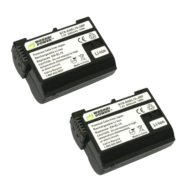 Wasabi Power Nikon EN-EL15 ENEL15 Battery 2pcs