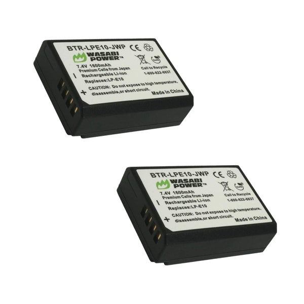 Wasabi Power Canon LP-E10 LPE10 Battery 2pcs