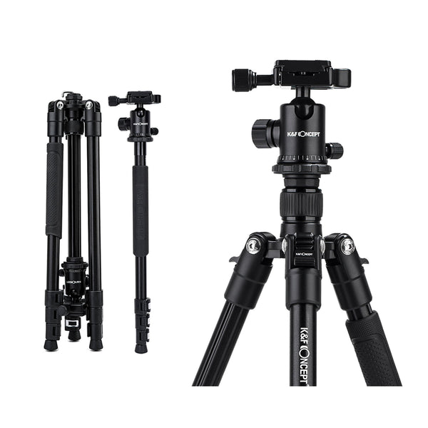 K&F Concept TM2324 II Foldable Lightweight Aluminum Tripod Travel Professional Photography Tripod for Mirrorless DSLR Cameras TM2324II - KF09.040