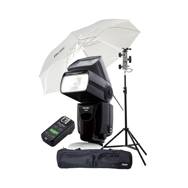 Phottix Juno Flash Speedlight Ready To Go Kit with Trigger, Umbrella, Light Stand, Shoe Adapter and Bag (80364 , PH80364)