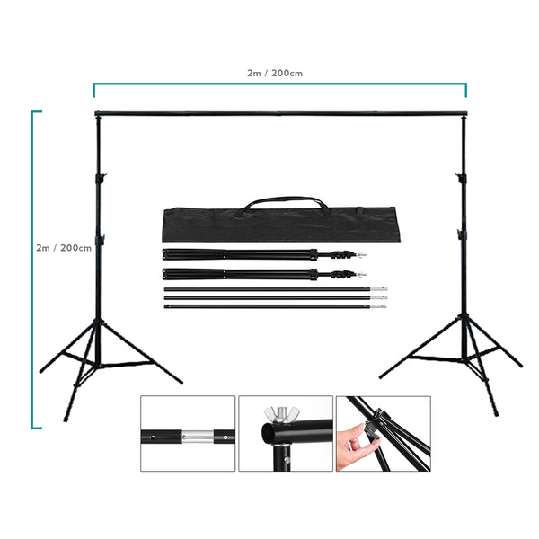 2 x 2m / 6.5 x 6.5ft Photography / Video Background Stand / Adjustable Studio Photo Backdrop Support Kit with Carrying Bag for Photo / Video Shooting