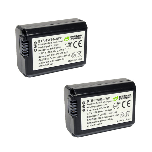 Wasabi Power Sony FW-50 FW50 Battery 2pcs