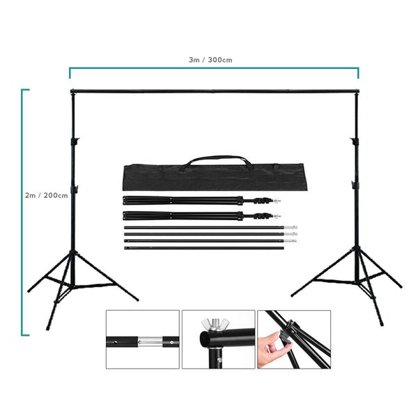 2 x 3m / 6.5 x 10ft Photography / Video Background Stand / Adjustable Studio Photo Backdrop Support Kit with Carrying Bag for Photo / Video Shooting