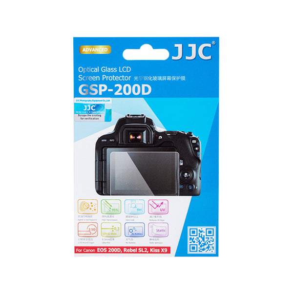 JJC Ultra-thin LCD Screen Protector for CANON EOS 200D, Rebel SL2, Kiss X9, EOS RP, 200D II, 250D, Rebel SL3, Kiss X10 (GSP-200D)