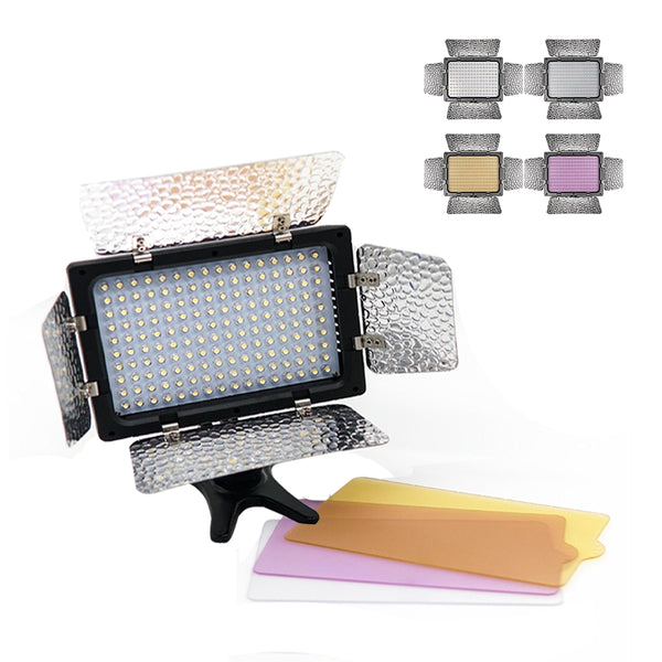W160 LED Video Light with Barn Doors 6000k Photography Light Panel for Canon Nikon Pentax Sony (Alpha) Olympus Fujifilm DSLR Camera DV Camcorder