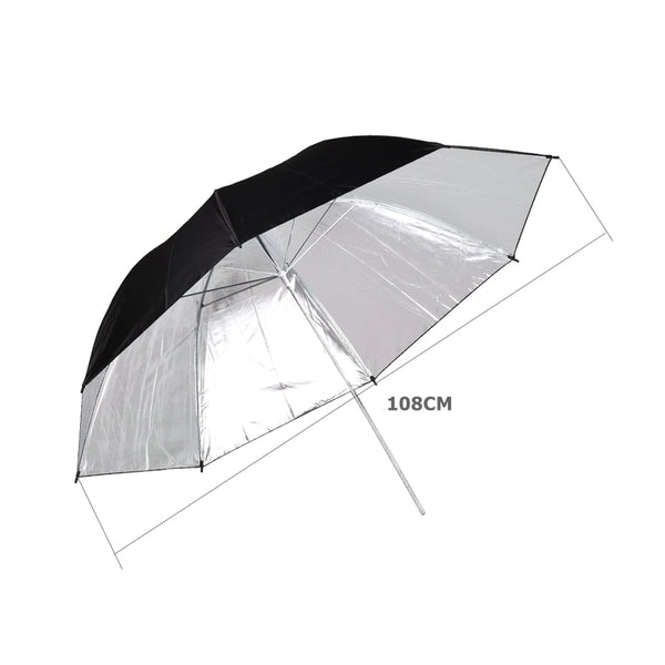 108cm/43 inch Black Silver Umbrella Studio Photography Diffuser Umbrella for Camera Flash or Strobe