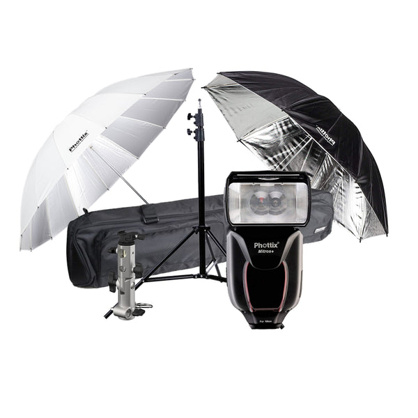 Phottix Mitros+ TTL Transceiver Flash Speedlight Kit with 2x Umbrella, Shoe Adapter, Light Stand and Bag For Nikon (80374 , PH80374)