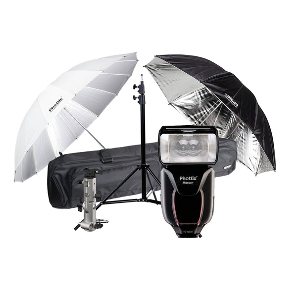 Phottix Mitros+ TTL Transceiver Flash Speedlight Kit with 2x Umbrella, Shoe Adapter, Light Stand and Bag For Canon (80373 , PH80373)