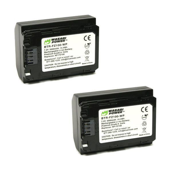 Wasabi Power Sony FZ-100 FZ100 F-Z100 Battery 2pcs