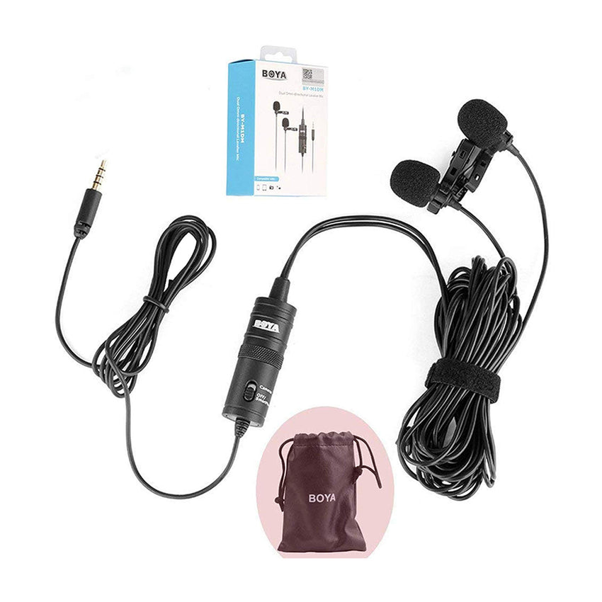 BOYA BY-M1DM Dual Omni-directional Lavalier Mic with a Single 1/8 Stereo Connector for Smartphones DSLR Cameras Camcorders