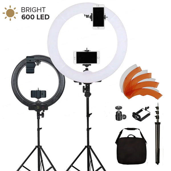 Ring Light 5500K 600PCS LED Photographic Lighting Dimmable Camera Photo/Studio/Phone Photography Ring Lamp & Tripod Stand RL-600