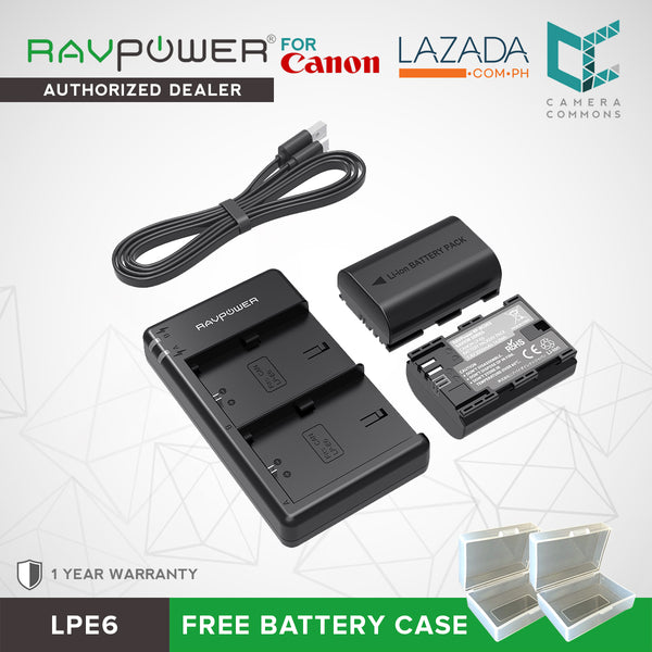 LP-E6 LP E6N Battery RAVPower Rechargeable Battery Charger Set for Canon 5D Mark II III IV, 5Ds, 6D, 70D, 80D and More (2-Pack, Versatile Charging Option with USB, 100% Compatible with Original) LPE6 LPE6n