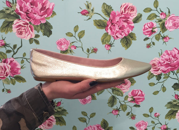 Ballerina Platino in Pelle Made in Italy