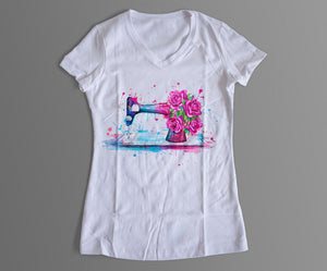 Sewing T-Shirt with Floral Design in Vivid Watercolor
